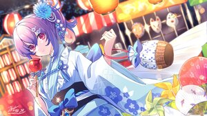 Rating: Safe Score: 34 Tags: apple bow candy close fan festival food fruit houchi_shoujo japanese_clothes macchoko mask pink_eyes ponytail purple_hair signed summer yukata User: BattlequeenYume