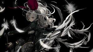 Rating: Safe Score: 7 Tags: aliasing black feathers gloves goth-loli gray_hair katana lolita_fashion long_hair naruwe original polychromatic ponytail red_eyes sword tiara weapon wings User: otaku_emmy