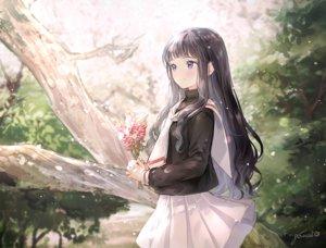 Rating: Safe Score: 60 Tags: black_hair blush card_captor_sakura daidouji_tomoyo flowers gomzi long_hair purple_eyes school_uniform signed skirt User: RyuZU