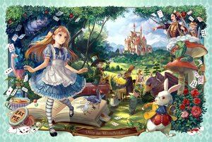 Rating: Safe Score: 213 Tags: alice_(wonderland) alice_in_wonderland animal bird book cheshire_cat dress flowers food hat queen_of_hearts rabbit rose siro User: FormX