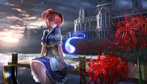 Rating: Safe Score: 277 Tags: aliasing building clouds dress flowers onozuka_komachi red_hair ryosios scenic scythe short_hair sunset touhou tree twintails water weapon User: Flandre93