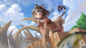 Rating: Safe Score: 49 Tags: animal_ears bell brown_hair catgirl cat_smile clouds collar dress original red_eyes saraki short_hair sky tail tattoo tree User: BattlequeenYume