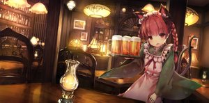 Rating: Safe Score: 60 Tags: animal_ears apple228 apron bow braids catgirl dress drink headdress japanese_clothes kaenbyou_rin long_hair maid multiple_tails red_eyes red_hair tail touhou twintails waitress User: RyuZU