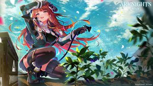 Rating: Safe Score: 78 Tags: arknights aruterra bagpipe_(arknights) blue_eyes blush boots clouds gloves horns leaves logo long_hair red_hair sky thighhighs water zettai_ryouiki User: Dreista