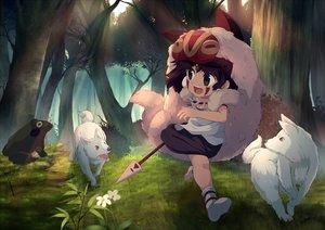 Rating: Safe Score: 28 Tags: animal brown_hair forest loli mononoke_hime onion_pikupiku san tree weapon wolf User: gnarf1975