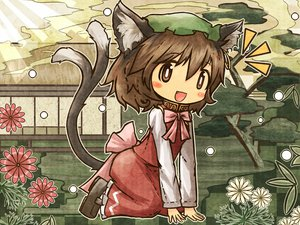 Rating: Safe Score: 18 Tags: akihiyo animal_ears bow brown_eyes brown_hair catgirl chen fang flowers hat tail touhou tree User: SonicBlue