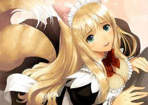 Rating: Safe Score: 383 Tags: animal_ears blonde_hair bow breasts cleavage foxgirl green_eyes headdress long_hair maid rouna shining_hearts tail taka_tony User: Wiresetc