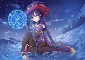 Rating: Safe Score: 107 Tags: clouds genshin_impact green_eyes hat long_hair magic mona_(genshin_impact) nayuuchan night purple_hair sky stars twintails water witch witch_hat User: BattlequeenYume