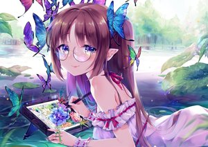 Rating: Safe Score: 65 Tags: blush brown_hair butterfly computer daefny dress glasses leaves long_hair original pointed_ears purple_eyes ribbons summer_dress tree water wristwear User: BattlequeenYume