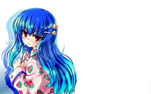 Rating: Safe Score: 23 Tags: blue_hair blush crying hinanawi_tenshi long_hair red_eyes tears touhou white User: cadenza