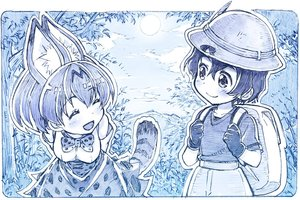 Rating: Safe Score: 27 Tags: 2girls animal_ears anthropomorphism blue bow catgirl gloves hat kaban kemono_friends monochrome sakino_shingetu serval short_hair shorts sketch skirt tail tie User: otaku_emmy