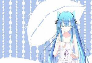 Rating: Safe Score: 97 Tags: aqua_hair hatsune_miku long_hair summer_dress twintails vocaloid x+c User: humanpinka