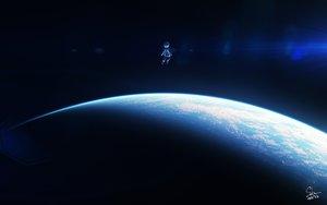 Rating: Safe Score: 20 Tags: dark original planet short_hair signed skybase space User: RyuZU