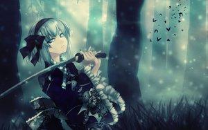 Rating: Safe Score: 353 Tags: animal bat blue_eyes forest headband japanese_clothes jpeg_artifacts katana kimono konpaku_youmu rokuwata_tomoe short_hair sword touhou tree weapon white_hair User: grudzioh