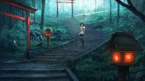 Rating: Safe Score: 88 Tags: black_hair fjsmu forest grass scenic shameimaru_aya short_hair skirt stairs thighhighs torii touhou tree zettai_ryouiki User: RyuZU