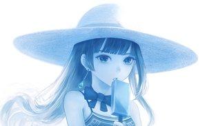 Rating: Safe Score: 70 Tags: blue bou_nin bow close hat long_hair monochrome original popsicle white User: RyuZU