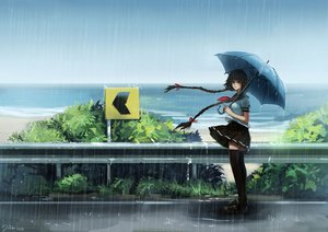 Rating: Safe Score: 63 Tags: beach braids long_hair minhoo original rain seifuku signed skirt thighhighs umbrella water zettai_ryouiki User: mattiasc02