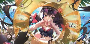 Rating: Safe Score: 26 Tags: animal animal_ears beach bikini black_hair bow bubbles cat catgirl flowers green_eyes headdress heart karyl long_hair moonofmonster princess_connect! sunglasses swim_ring swimsuit tail twintails water User: mattiasc02