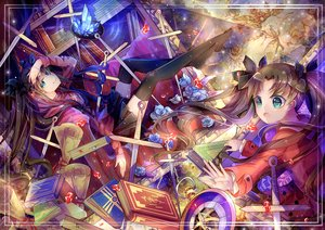 Rating: Safe Score: 69 Tags: black_hair blue_eyes book cross fate_(series) fate/stay_night flowers long_hair necklace rose skirt thighhighs tohsaka_rin twintails yasato zettai_ryouiki User: Flandre93