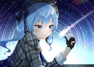 Rating: Safe Score: 69 Tags: blue_eyes blue_hair bow choker dress gloves hat hololive hoshimachi_suisei long_hair naomi_(fantasia) ponytail signed stars User: otaku_emmy