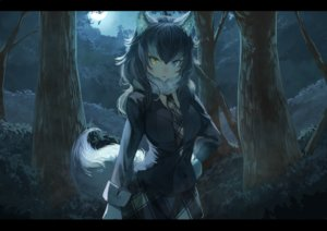Rating: Safe Score: 217 Tags: animal_ears anthropomorphism bicolored_eyes black_hair breasts forest gray_wolf_(kemono_friends) kemono_friends koruse long_hair moon night skirt sky tail tie tree wolfgirl User: RyuZU