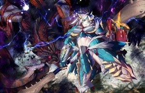 Rating: Safe Score: 124 Tags: aqua_eyes armor dragon hullabaloo monster_hunter navel sarashi underwear weapon white_hair zinogre_(armor) User: FormX