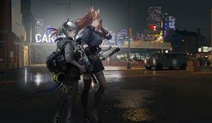 Rating: Safe Score: 29 Tags: animal_ears arknights building city franka_(arknights) gun hamachi_hazuki horns liskam_(arknights) rain sword water weapon User: kyxor