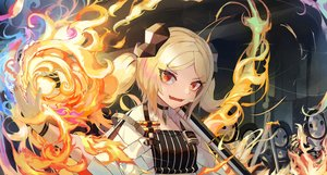 Rating: Safe Score: 36 Tags: arknights blonde_hair close fang fire horns ifrit_(arknights) magic natori_youkai orange_eyes short_hair twintails User: Fepple