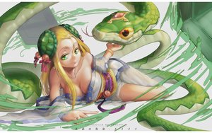 Rating: Safe Score: 70 Tags: animal blonde_hair breasts chelonia cleavage green_eyes japanese_clothes long_hair meimei_(p&d) no_bra puzzle_&_dragons snake User: Flandre93