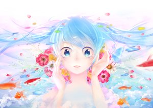 Rating: Safe Score: 45 Tags: animal blue_eyes blue_hair butterfly fish flowers harunohotaru hatsune_miku petals signed tears twintails vocaloid User: FormX