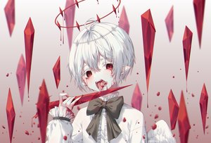 Rating: Safe Score: 21 Tags: all_male blood male original pointed_ears red_eyes short_hair tagme_(artist) vampire white_hair wings User: sadodere-chan