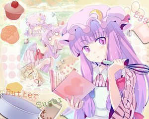 Rating: Safe Score: 78 Tags: apron blush book cake cherry food fruit hat long_hair patchouli_knowledge purple_eyes purple_hair strawberry touhou yuuyuu_(yuko) User: Cade