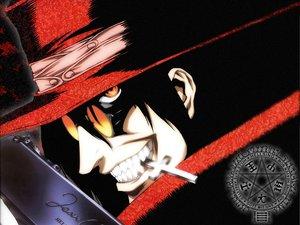 Rating: Safe Score: 0 Tags: alucard goggles hat hellsing logo orange_eyes polychromatic User: Oyashiro-sama