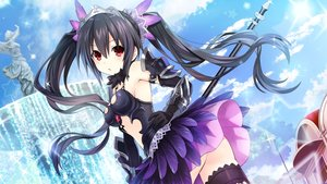 Rating: Safe Score: 175 Tags: armor black_hair breasts clouds elbow_gloves four_goddesses_online:_cyber_dimension_neptune game_cg gloves hyperdimension_neptunia long_hair noire red_eyes skirt sky tiara tsunako twintails User: mattiasc02