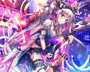Rating: Safe Score: 176 Tags: breasts cleavage garter gray_hair guitar instrument long_hair original wings yam2344 User: Wiresetc