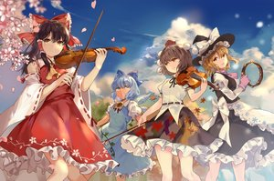 Rating: Safe Score: 70 Tags: apron blonde_hair blue_eyes blue_hair bow brown_hair cherry_blossoms cirno dress elise_(piclic) fairy flowers gloves group hakurei_reimu hat instrument japanese_clothes kirisame_marisa long_hair mage miko orange_eyes petals shameimaru_aya short_hair skirt touhou violin wings witch_hat yellow_eyes User: RyuZU