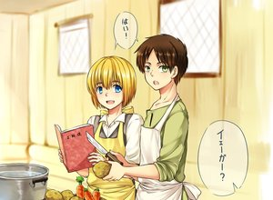Rating: Safe Score: 16 Tags: all_male apron armin_arlert blonde_hair blue_eyes book brown_hair eren_jaeger food green_eyes knife male moxue_qianxi shingeki_no_kyojin short_hair User: Flandre93