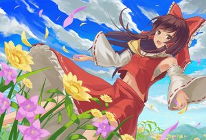 Rating: Safe Score: 88 Tags: bow brown_eyes brown_hair clouds flowers hakurei_reimu japanese_clothes long_hair miko muireko navel petals sarashi touhou underwear User: RyuZU