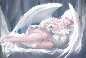 Rating: Safe Score: 61 Tags: angel barefoot flowers long_hair original qidai rose white_hair wings User: BattlequeenYume