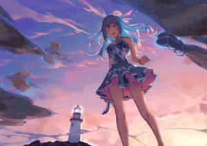 Rating: Safe Score: 74 Tags: blue_eyes blue_hair clouds dress lighthouse long_hair sky sparrow_(xici9527) sunset vocaloid vocaloid_china xingchen User: RyuZU