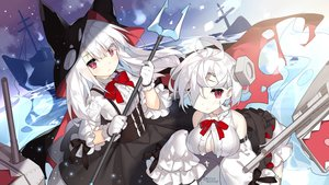 Rating: Safe Score: 13 Tags: 2girls animal_ears bow breasts dress gloves long_hair original red_eyes saru short_hair water weapon white_hair User: RyuZU