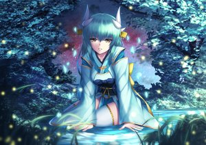 Rating: Safe Score: 31 Tags: brown_eyes clouds fate/grand_order fate_(series) grass green_hair horns japanese_clothes kiyohime_(fate/grand_order) long_hair mishiro0229 night sky thighhighs water zettai_ryouiki User: BattlequeenYume
