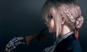 Rating: Safe Score: 179 Tags: aqua_eyes blonde_hair braids close gloves gradient necklace short_hair techgirl violet_evergarden violet_evergarden_(character) wlop User: RyuZU