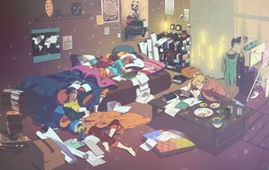 Rating: Safe Score: 34 Tags: all_male barefoot bed black_hair blonde_hair book brown_hair drink food glasses group hoodie male mask orange_hair original paper short_hair sleeping tagme_(artist) wristwear User: otaku_emmy