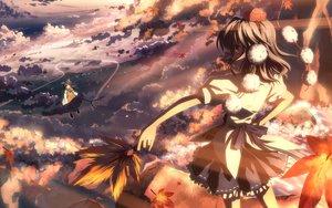 Rating: Safe Score: 121 Tags: 2girls clouds hakurei_reimu japanese_clothes leaves miko shameimaru_aya sky touhou yuuki_tatsuya User: luckyluna