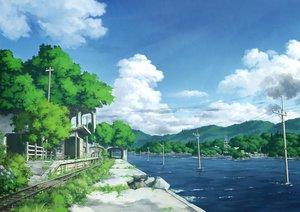 Rating: Safe Score: 37 Tags: clouds flowers grass nobody original pochi_(poti1990) ruins scenic sky train water User: otaku_emmy