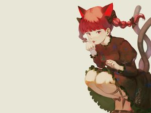 Rating: Safe Score: 34 Tags: animal_ears bow braids catgirl dress kaenbyou_rin kagari_(hig_lley) multiple_tails red_eyes red_hair tail touhou twintails User: otaku_emmy