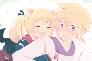 Rating: Safe Score: 27 Tags: animal_ears blonde_hair foxgirl hug kagamine_len kagamine_rin male purple_eyes short_hair tagme_(artist) tail vocaloid User: luckyluna