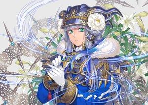 Rating: Safe Score: 28 Tags: blue_eyes flowers gloves gray_hair hat long_hair minami_(minami373916) original sword uniform weapon User: RyuZU