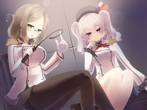 Rating: Safe Score: 85 Tags: 2girls anthropomorphism blonde_hair gengetsu_chihiro glasses gloves hat kantai_collection kashima_(kancolle) katori_(kancolle) long_hair pantyhose twintails uniform white_hair User: Flandre93